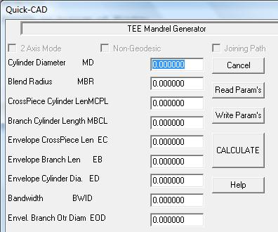 The data entry dialog for CADFIL Tee